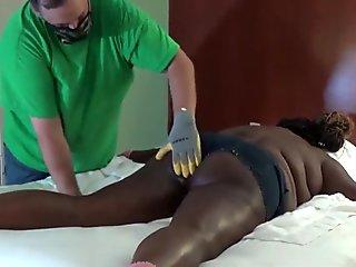 Spanking her Ebony ass with grippy gloves