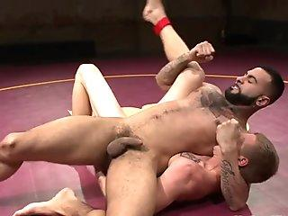 Tattooed hunks wrestling and assfucking