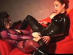 Latex Cats RubberDoll & Jewell Marceau Lesbian StrapOn Fuck!