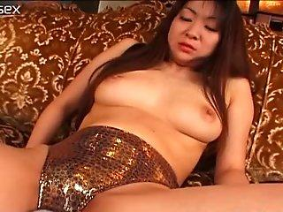 Stimulating her too hairy pussy with a dildo Biko Koike groans of joy