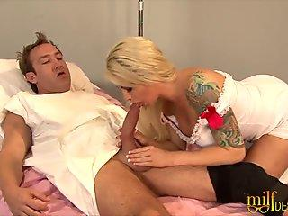 ash-blonde milf nurse gets her muff fucked hard