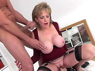 UK cougar rides sybian saddle and gargles a huge cock