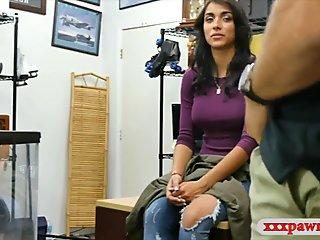 Busty amateur nailed by pawn dude in the back office