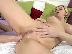 Sweet Megumi Shino stuffs a vibrator deep into her wet pink slit.