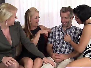 Three hot cougars in a mature foursome