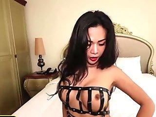 Big boobs Thai shemale hottie loves sucking and fucking