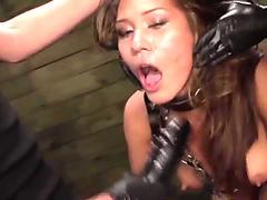 Asian sub strapon fucked in lez trio