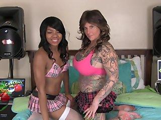 Angry White girl strap-on punishes Cute Asian girl