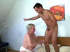 Freckles 70 yo granny giving titjob before cock riding