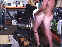 Dirty blonde MILF blows and rims him!