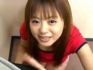Big eyed Noriko Kago is seduced in the garden and face fucked in the house