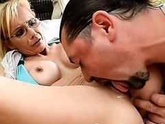 Spex grandma gets anally fingered and banged