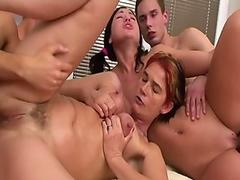 Horny mature slut gets DP'_d in a foursome