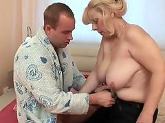 obese grannie gets salami up her ass