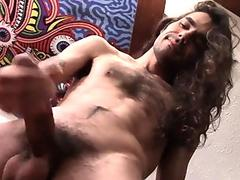 Devin Reynolds long haired dude plays with his cock