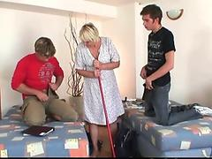 Very old blonde granny and boys threesome