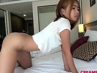 Bound Japanese girl gets her hairy pussy creamed