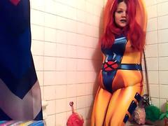 Jean Grey corded Up and Inflated with Water