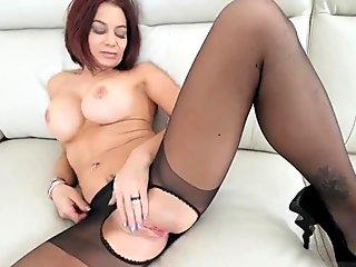 Horny hairy lesbian chicks fuck as threesome