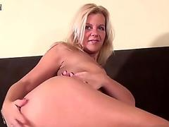 Mature blonde MILF pounding her MILF cunt
