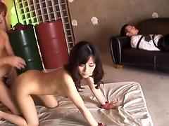 Dirty Asian slut and with one fat dildo