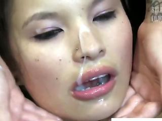 Super Cute Japanese Chick Showered in Cum Loads