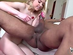 lil' Chloe enjoys yam-sized black lollipops shoved up her pussy