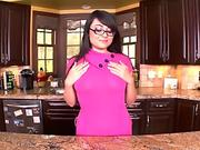 Bright and juicy sweetie masturbates and sticks a big dildo in her wet holes.