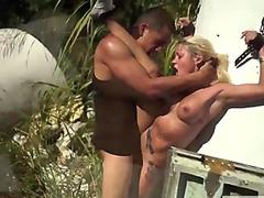 Masked girl gets dirty