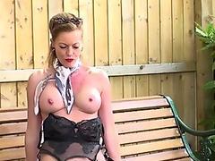 Kinky Milf wanks in public in nylons garters stilettos