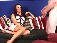 Black haired babe Roxy Deville gets her face blasted with jizz