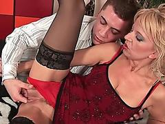 passionate senior lady works his rigid man rod