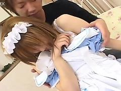 Young Jap guy pulls down the panties of Iruka Sakana