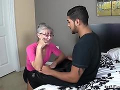 skinny greyhaired grandma gargles my cock
