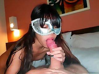 little Thai sucking a big dick and enjoy it - girlfriend 18 oral pleasure