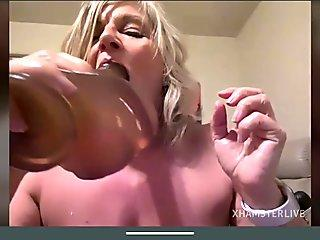 Sexy Blonde granny striptease pussy tits and ass